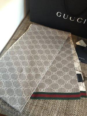 Gucci Schal | Gucci Monogram | Grau Creme | Neu mit Etikett
