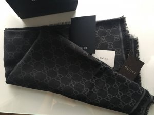Gucci Schal Quadratisch Schwarz Grau Neu