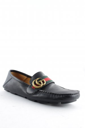 "Gucci Zapatos sin cordones ""Velvety Calf Leather Loafers Nero/Verde/Rosso 39,5"""