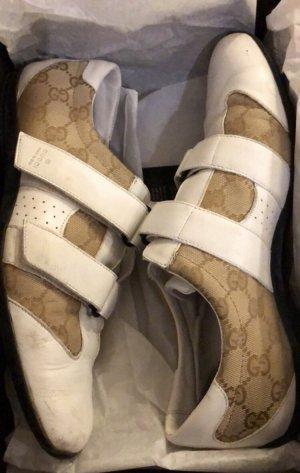 Gucci Klittenband Sportschoenen wit-lichtbruin
