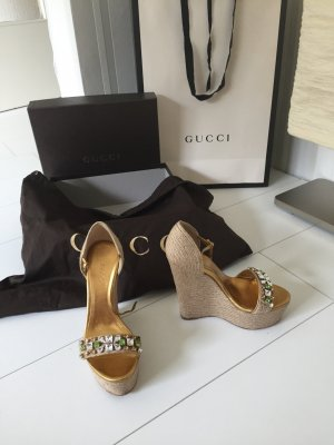 Gucci High-Heeled Sandals cream-gold-colored