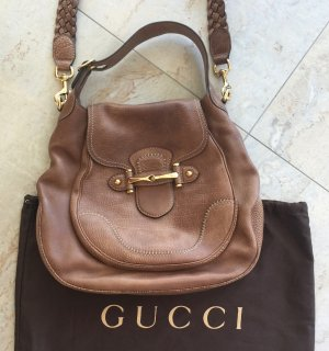Gucci Shoulder Bag gold-colored-brown leather