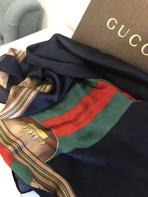 Gucci Pañuelo de seda rojo-azul oscuro