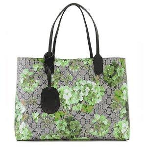 Gucci Shopper aus GG Supreme, Blumen Motiv in Grün