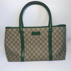 Gucci Borsa shopper verde bosco-beige