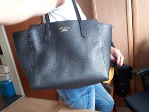 Gucci Shopper noir-jaune foncé cuir