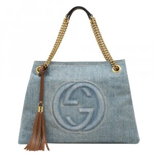 Gucci Shultertasche Pale Blue Soho Denim