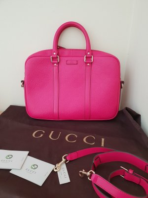 Gucci Signature Handtasche/ Businesstasche Leder Pink Neu