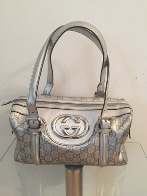 Gucci Silver Britt Guccissima Boston Bag