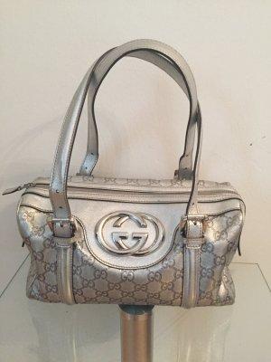 Gucci Silver Britt Guccissima Boston Bag