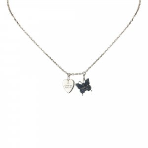 Gucci Silver Butterfly Heart Necklace