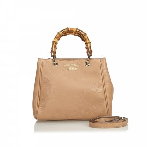 Gucci Small Bamboo Leather Shopper Satchel
