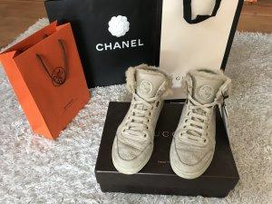 Gucci Sneaker High Top Fell Pelz Nude Creme Schuhe
