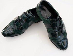 Gucci Basket velcro vert foncé cuir