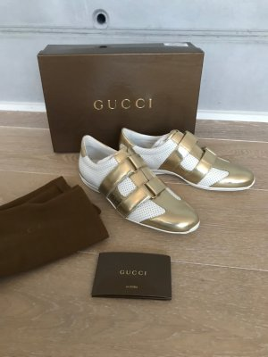 Gucci Velcro Sneakers gold-colored-white leather