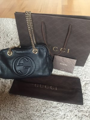 Gucci soho leather chain shoulder bag schwarz Gold