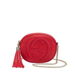 Gucci SOHO Mini Umhängetasche aus Leder, Kleine Tasche in Rot, Kette