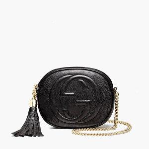 Gucci SOHO Mini Umhängetasche aus Leder, Kleine Tasche in Schwarz, Kette