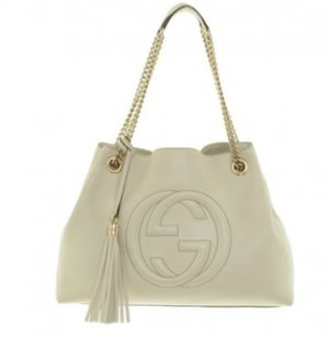 Gucci Shopper cream-gold-colored leather