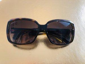 Gucci Occhiale da sole spigoloso marrone-nero-marrone scuro