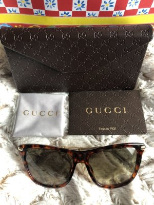 Gucci Hoekige zonnebril bruin-goud