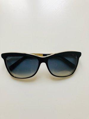 Gucci Hoekige zonnebril zwart bruin-goud