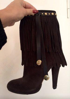 Gucci Stiefel Blockabsatz Absatz Stiefelletten Fransen Velours Wildleder gold braun
