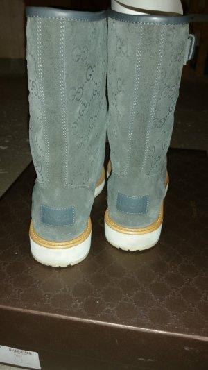 Gucci Stiefel grau Monogram Leder
