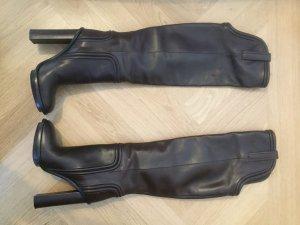 Gucci Stiefel: Overknees aus braunem Glattleder