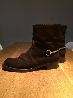 Gucci Stiefel, Stiefeletten, Schuhe Größe 41 Farbe Braun, Silber