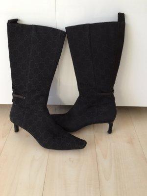 Gucci-Stiefeletten schwarz-braun mit Logo