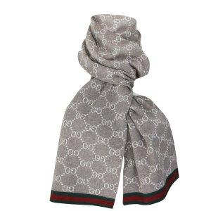 Gucci Strickschal, 100% Wolle, Beige, GG-Muster