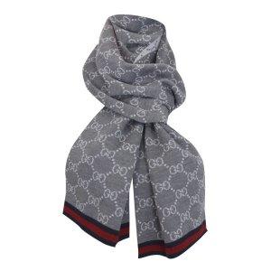 Gucci Strickschal, 100% Wolle, Grau, GG-Muster