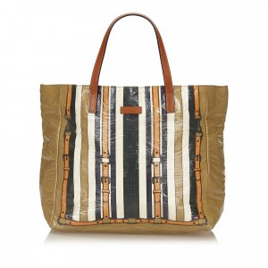 Gucci Striped Coated Canvas Tote Bag