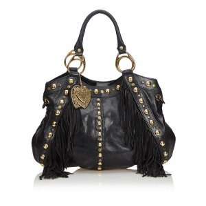 Gucci Studded Leather Babouska Fringe Satchel