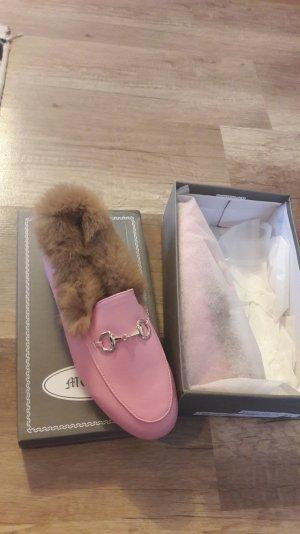 Gucci Style Loafer Loafers Jordaan Horsebit Fell Fur Slipper Slipons Rosa Pelz