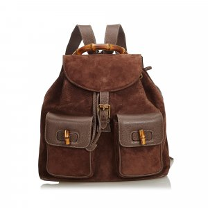 Gucci Suede Bamboo Backpack