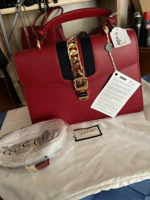 Gucci Shoulder Bag black-red leather