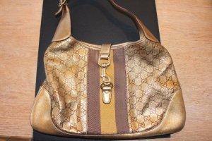 Gucci Tasche aus Leder, mit GG Logoprägung und WEB Muster, Farbe: braun, kupfer, gold