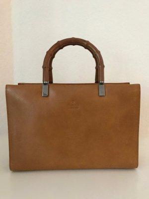 Gucci Tasche Braun Leder Bambus Henkel Vintage Handtasche Bamboo Bag Brown