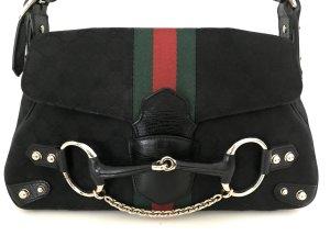 GUCCI TASCHE Schwarz Gold Princetown Nieten Kette Leder Canvas GG Logo Bag Black