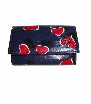 Gucci Tasche Täschchen Etui Leder Echtleder blau rot schwarz weiß Herzen neu