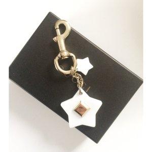 GUCCI Taschenanhänger Sterne Logo mit Karabinerhaken Gold weiß Anhänger Tasche