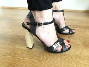 GUCCI Tom Ford T-Strap High Heel Sandale Krokoleder mit Swarovski Kristallschnalle 38