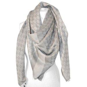Gucci Tuch aus Wolle und Seide, Beige und Grau