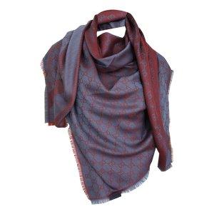Gucci Tuch aus Wolle und Seide, Blau-rot