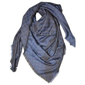 Gucci Tuch aus Wolle und Seide, Schwarz-blau