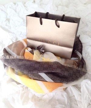 Gucci Tuch Schal beige grau gelb orange Creme