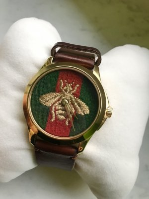 Gucci Horloge met lederen riempje veelkleurig Leer
