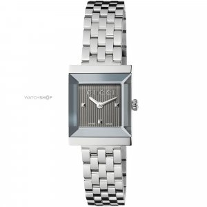 Gucci Watch With Metal Strap black-silver-colored